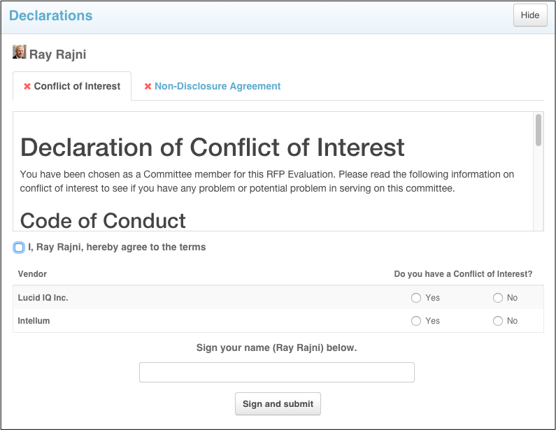 Declaration Module Conflict Of Interest COI And Non